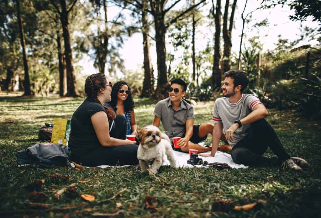 Group of people with a dog sitting on a white mat on a grass field