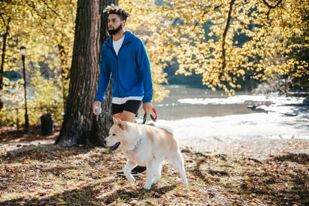 Man walking his dog in a park